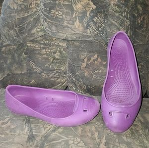 Crocs Slip-On Purple Ballet Flats, Size 8